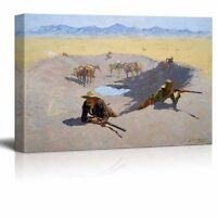 Fight For The Water Hole By Frederic Remington - Canvas Print Wall Art-24 X 36