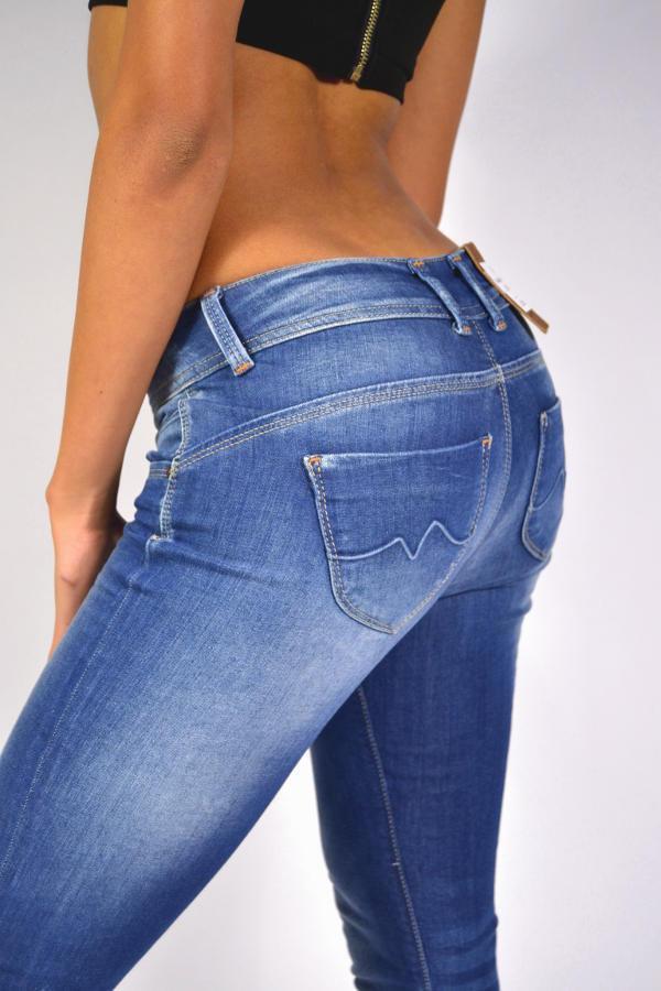 Geniale PEPE Jeans NEW BROOKE D45 Mittelblau Röhrenjeans Slim Fit Regular Waist