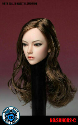 1//6 scale SUPER DUCK Asia Female Head Sculpt SDH002 Wiht Long Curly Hair Model