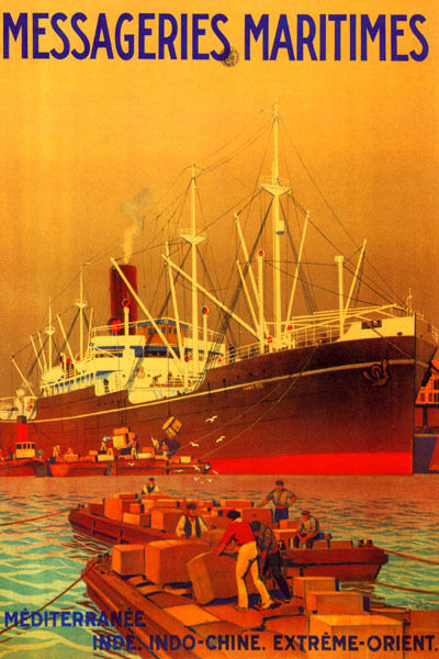 MESSAGERIES MARITIMES MEDITERRANEAN CARGO SHIP TO ORIENT VINTAGE POSTER REPRO