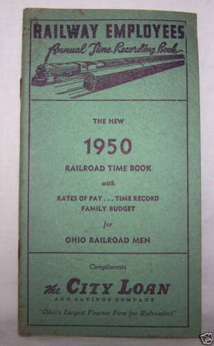 1950 RAILWAY EMPLOYEES TIME BOOKCITY LOANOHIOTRAINRAILROAD