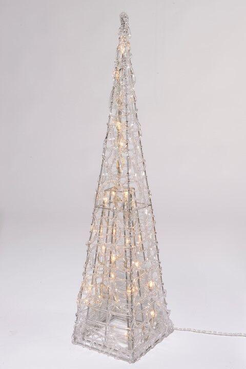 491946 Lumineo LED Acryl Pyramide für innen & aussen 90cm & 50 LED warm weiss