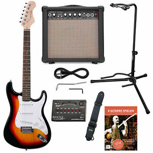E-Gitarre Set Combo Verstärker Amp Stimmgerät Ständer Gurt Kabel Set Sunburst