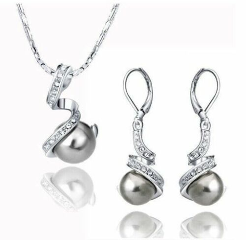 Genuine 12mm Gray South Sea Shell Pearl CZ 18KGP Pendant Necklace Earrings Sets