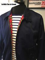 Harrington Jacket Navy Blue Black Burgundy Stone Check Mod Red POW S - XXL