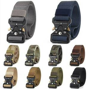 Men-Quick-Release-Buckle-Military-Trouser-Waist-Belt-Army-Tactical-Nylon-Webbing