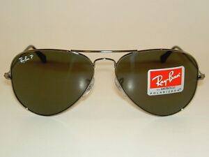 71dc933820 New RAY BAN Aviator Sunglasses GLASS POLARIZED GRAY RB 3025 004 58 ...
