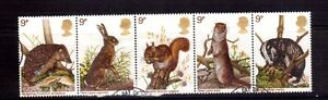 GREAT-BRITAIN-1979-wildlife-strip-of-5-used