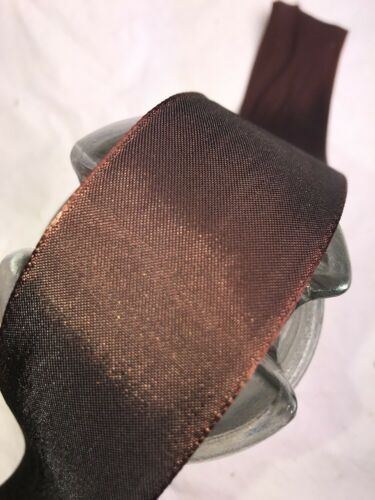 "1 yard 1.5/"" wide roll Brown rayon trim vintage single faced satin ribbon"