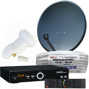 Digitale-Satanlage-Komplettset-60cm-HDTV-Sat-Receiver-USB-LNB-Kabel-Sat-Anlage