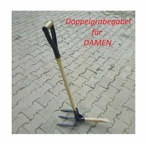 Garten-Hand-Doppel-Grabegabel-Spate-Gabel-Hacke-Spaten-Gabeln-Forke-Grubber
