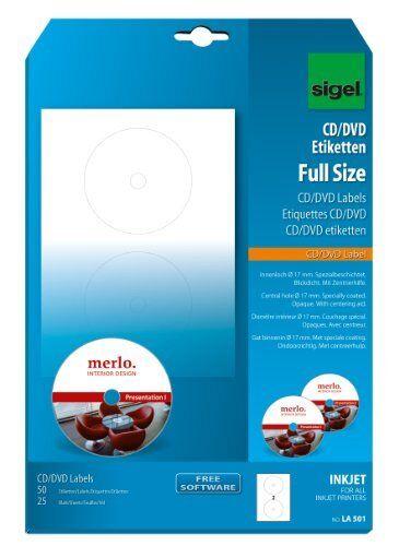50x sigel CD DVDEtiketten weiß spezialbeschichtet matt für Tintenstrahldrucker