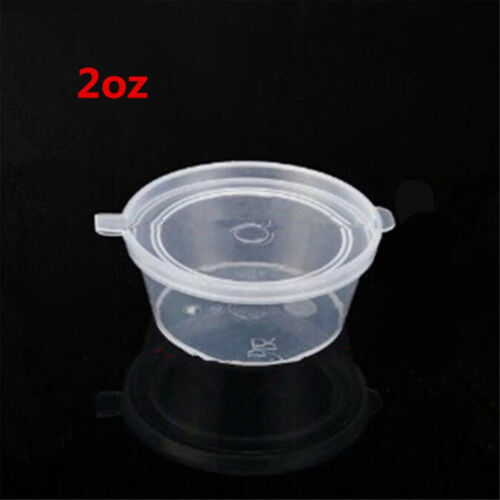 Details about  /100X 2oz Clear Plastic Containers Tubs with Attached Lids Food Safe Takeaway