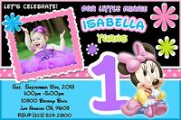 12 Printed Custom Photo Minnie Mouse 1st Birthday Card Invitation Baby Girl