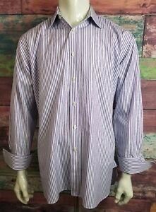 Charles-Tyrwhitt-Purple-Stripe-French-Cuff-Button-Down-Dress-Shirt-Mens-17-35-z