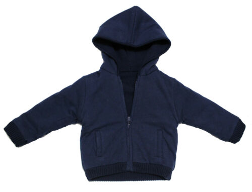 NWT Mayoral Baby Boy Hooded Reversible Knit Zipper Sweater in Blue ~ Size 9M-24M