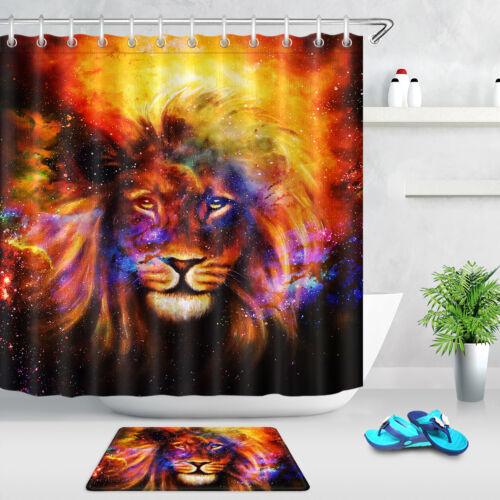 Lion In Cosmic Space Bathroom Waterproof Shower Curtain 12 Hooks Accessory Sets