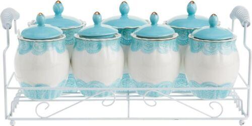 Duygu 15 Pièces Pots à épices set turquoise à épices Récipient épices