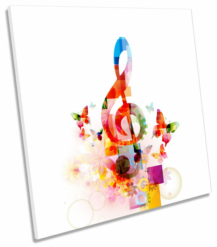 Abstract Music Note Butterflies SQUARE CANVAS WALL ART Framed Print