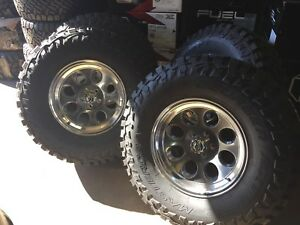 17x9 ion 171 polished 35 mt wheel and tire package 8x170 ford f250