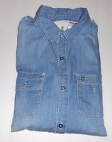 Jeans By Buffalo Men's Long Sleeve Denim Casual Shirt Vintage Denim Combo L