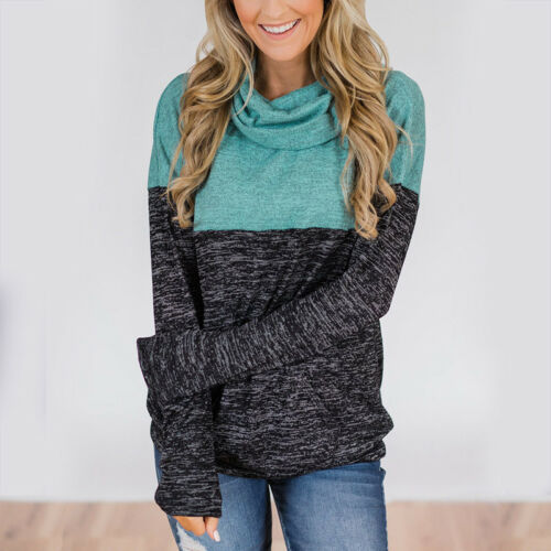 Autumn Women Cowl Neck Sweater Colorblock Long Sleeve Casual Pullover Top Jumper