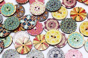Bohemian Wooden Buttons BOHO Ethnic Tribal Hippie Pattern Two Holes 25mm 100pcs