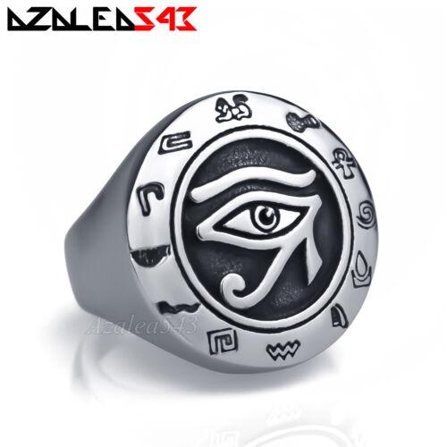 Hommes égyptien Eye Of Ra Horus udjat argent acier inoxydable Croix de Vie Bague