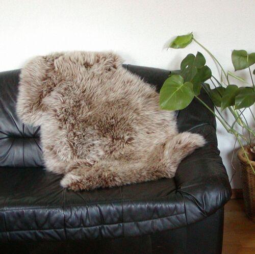 Chamier ökologisch gegerbtes australisches Lammfell capuccino Rückseite m Naht