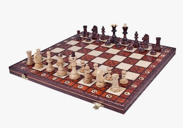 Brand New ♞ Hand Crafted Senator Wooden Chess Chess Chess Set 42cm x 42cm ♔Weighted Pieces  ac30c9