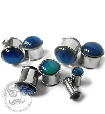 """1 Pair of Stainless Steel Mood Plugs (Double Flare) Sizes / Gauges (4G - 5/8"""")"""