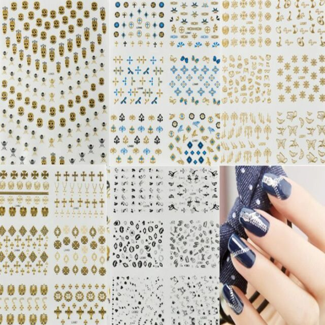 New Colorful 3D Nail Art Tips Stickers Decal Wraps Acrylic Manicure Decorations
