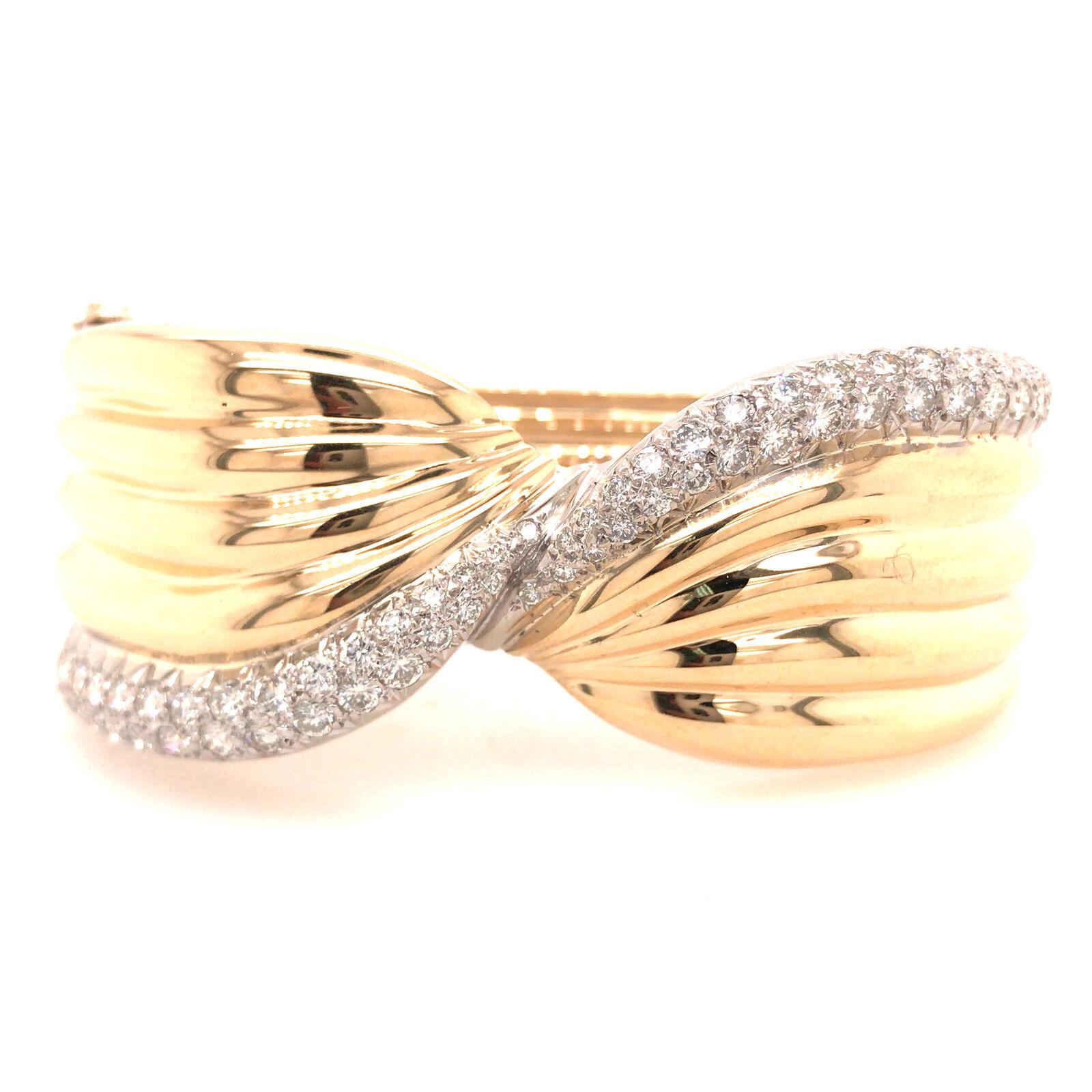 14K Wide Diamond Twist Cuff Two-Tone Gold - image 1