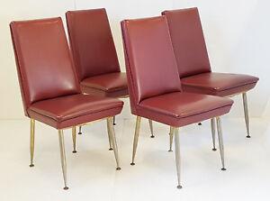 Sedie Vintage Pelle : Gruppo di sedie francese edizione erton vintage finta pelle