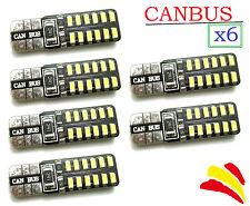 x6 Bombillas Canbus LED T10 W5W 3014 Luz Blanca 5000K COB Xenon Coche Moto Lot