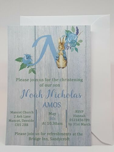 Christening Invitations Peter Rabbit Themed Packs of 10 COMPLETE with envelopes