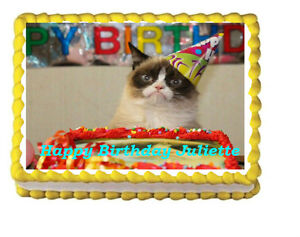 Image Is Loading Grumpy Cat Birthday Party Icing Edible Cake Topper
