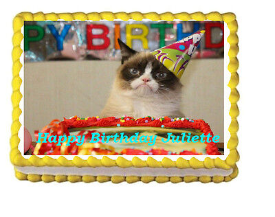 Wondrous Grumpy Cat Birthday Party Icing Edible Cake Topper 1 4 Frosting Funny Birthday Cards Online Elaedamsfinfo