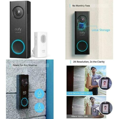 Security Wi-Fi Video Doorbell 2K Resolution Real-Time Response Black