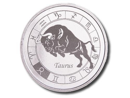 Zodiac HoroscopeTaurus1 oz .999 Silver BU Round USA Made Capsuled Coin
