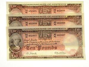1960-Ten-Pounds-Coombs-Wilson-Consecutive-Run-of-Three-Banknotes