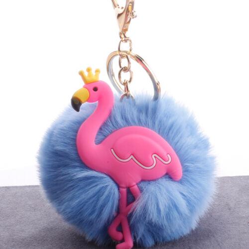 Mini Fur Ball Pompom Keychain Flamingo Fluffy Key Ring Chain Pendent Acc Gift