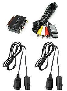 AV-Cinch-Kabel-Scartadapter-2x-Controller-Verlaengerungskabel-fuer-Nintendo-64