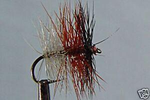 10-x-Mouche-de-peche-Seche-Tricolore-Foncee-H10-12-14-16-mosca-fliegen-fly-trout
