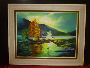 Junks-In-Harbour-OIL-PAINTING-by-Boots-Asian-Seascape-Vintage-Retro-Kitsch-60s
