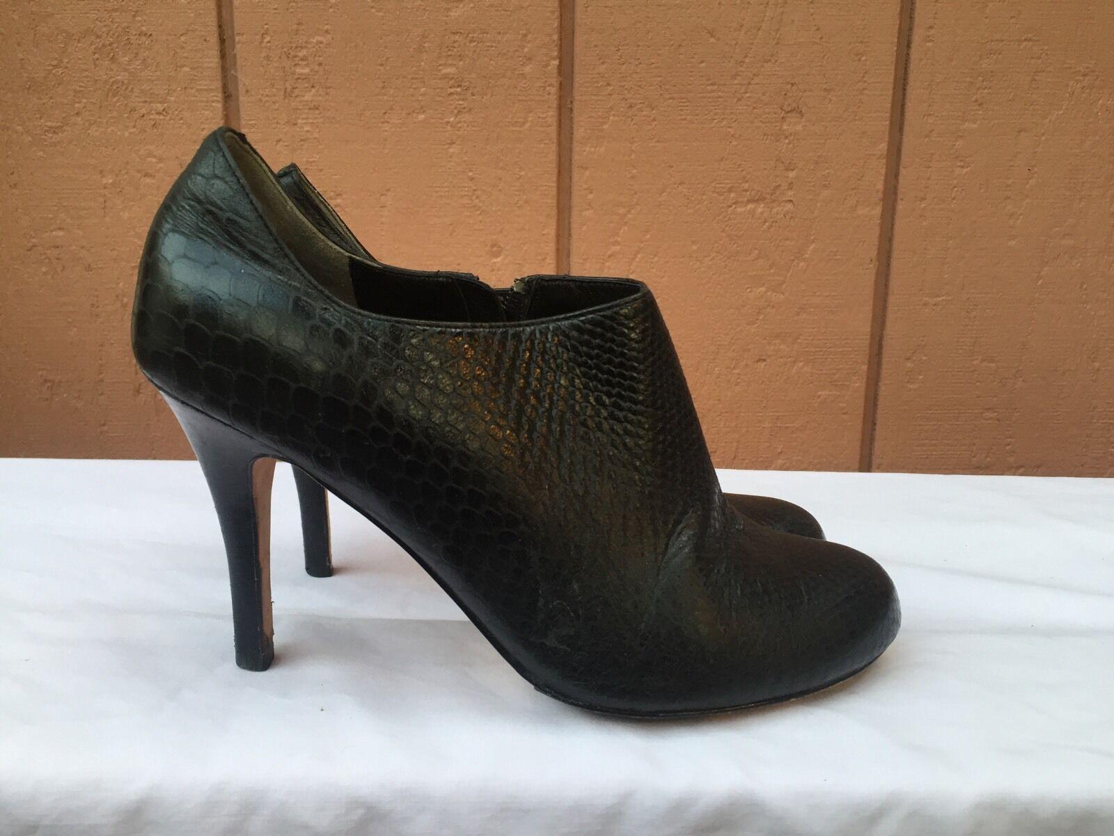 EUC Cole Haan Black High Heel Black leather Booties Womens Shoes US Sz 8 B