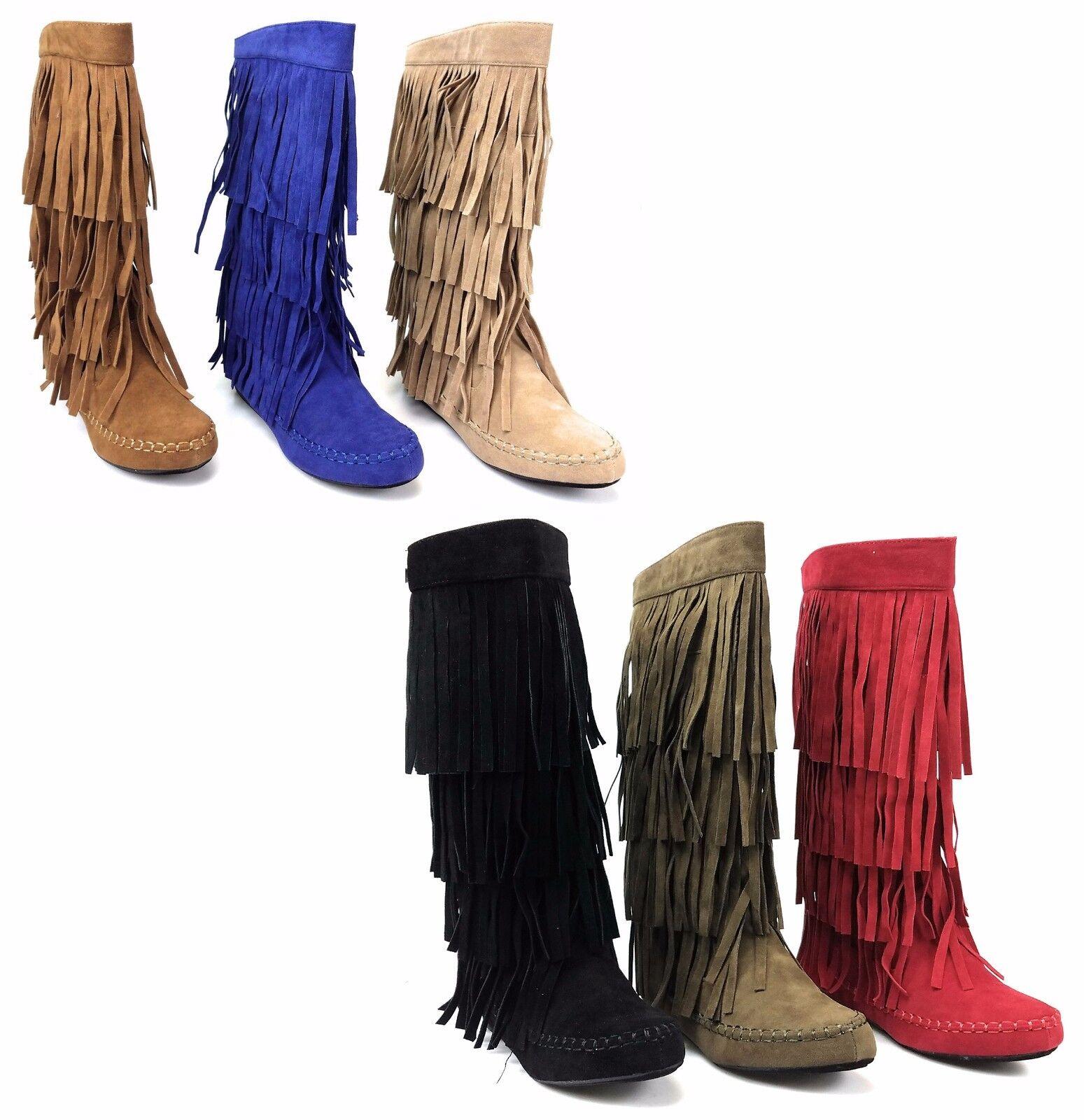 Womens 4 Layer Fringe Flat Boots Moccasin Mid Calf Comfy Boots Rust Yoki Mudd-55