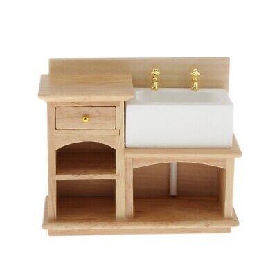 1:12 Scale Dollhouse Miniature Furniture Bathroom Kitchen Wooden Hand Sink