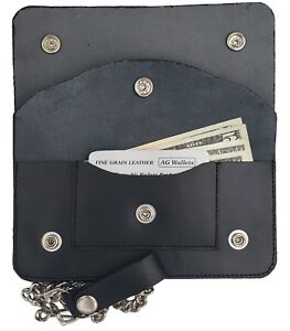 Mens-Trucker-Motorcycle-7-034-Biker-Multi-Compartmnet-Chain-Genuine-Leather-Wallet