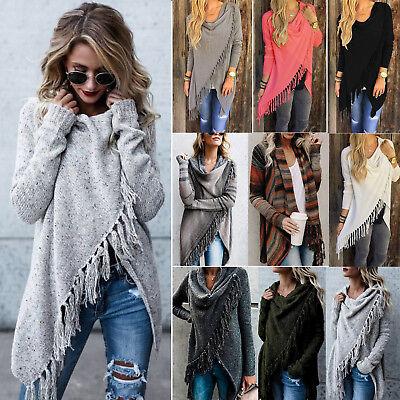 Womens Coat Cardigan Casual Sweater Irregular Tassel Knitted Poncho Shawl Loose